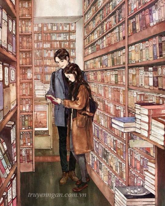 cặp đôi trong hiệu sách